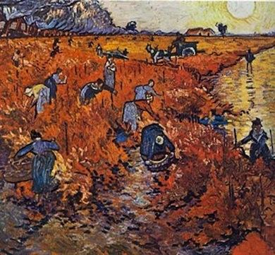 Vincent Van Gogh Το κόκκινο ἀμπέλι ( Νοέμβριος 1888 ) Διαστάσεις : 73X92 ἑκ. Μουσεῖο Πούσκιν, Μόσχα Πίνιν Κάρπι, Μία νύχτα μὲ ἀστροφεγγιά, Ὀδυσσέας 1985