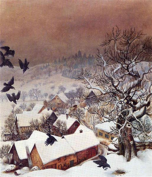 Wilhelm Heinrich Otto Dix: Randegg in the snow with ravens - 1935.