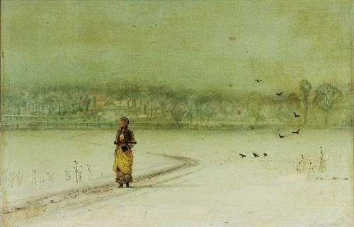 John Atkinson Grimshaw, Χειμώνας. Στη λάμψη του λυκόφωτος. 1892-93. Ιδιωτική Συλλογή.