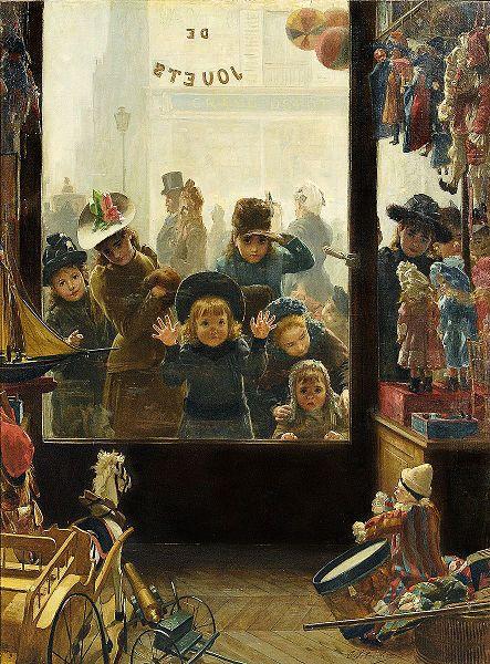Timoléon Marie Lobrichon (1831 – 1914). Βιτρίνα καταστήματος παιχνιδιών.
